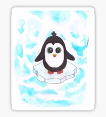 Penguin on Iceberg - Watercolor Sticker