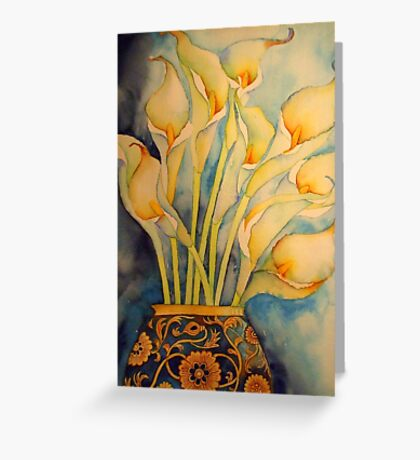 Arum Lilies in Vintage Vase 'Still Life' © Patricia Vannucci 2008 Greeting Card