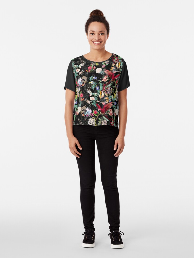 Alternate view of Floral and Birds IX Chiffon Top