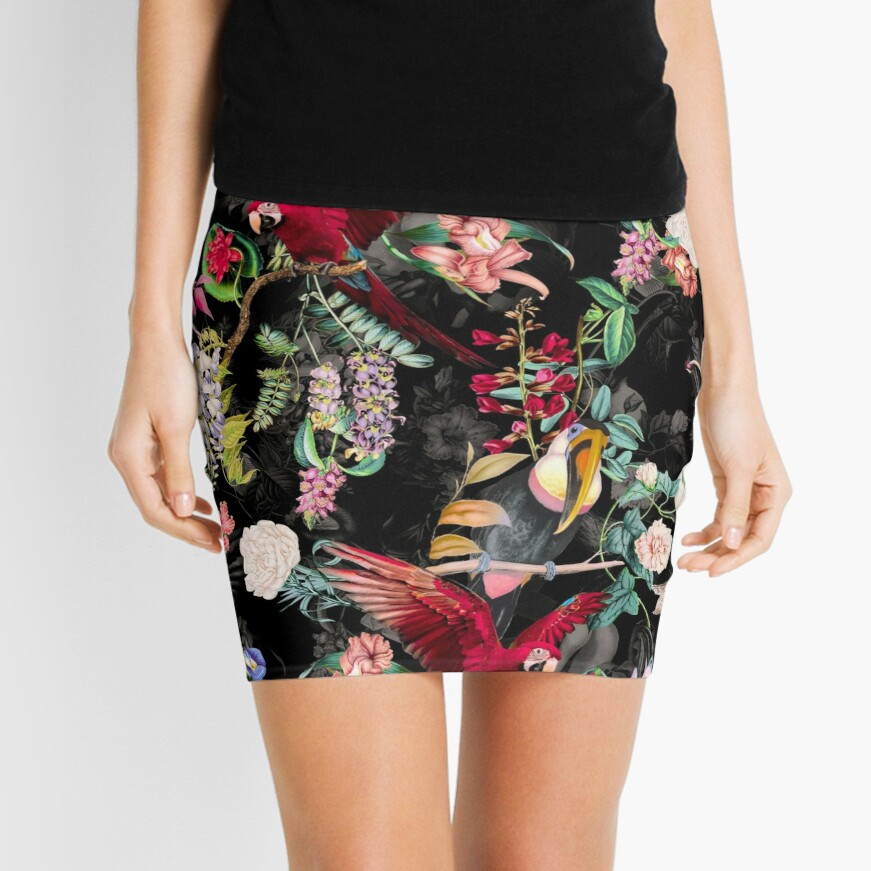Floral and Birds IX Mini Skirt