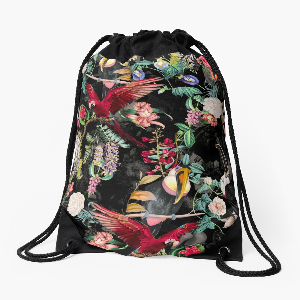 Floral and Birds IX Drawstring Bag