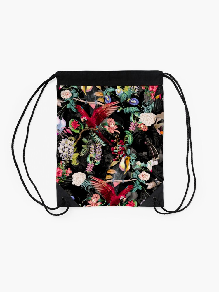 Alternate view of Floral and Birds IX Drawstring Bag