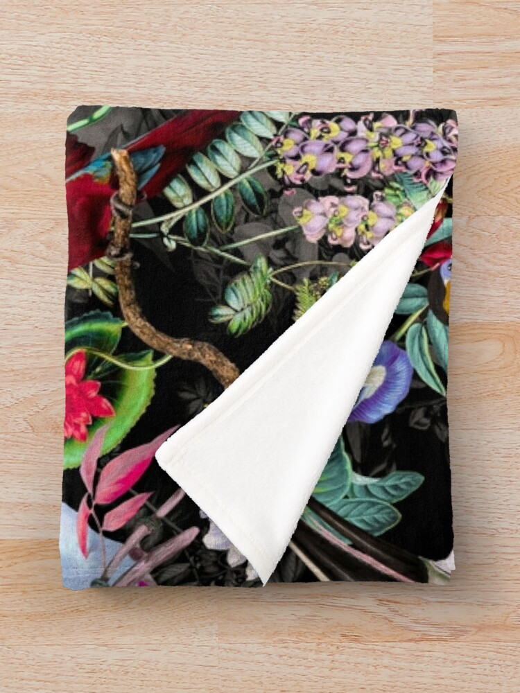 Alternate view of Floral and Birds IX Throw Blanket