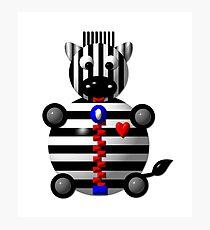Cute Zebra with a Zipper Photographic Print