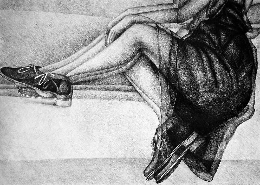 I drift away, 2017, 50-70cm, graphite crayon on paper by oanaunciuleanu