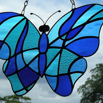 Stained Glass Butterfly (Blues) by neilsglass