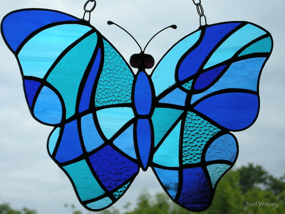 Stained glass butterfly blues 2 by neil witney redbubble for Butterfly stained glass craft