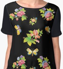 Flowers & Butterflies - Black Women's Chiffon Top