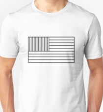 American (US) Flag Black & White Unisex T-Shirt