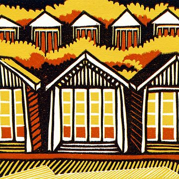 Beach Huts - Summer - Original Linocut by Francesca Whetnall by Cecca-Designs