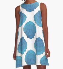 Blue Seashell Mosaic Pattern A-Line Dress