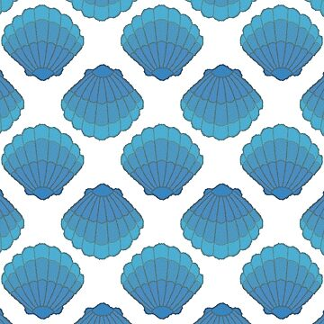 Blue Seashell Mosaic Pattern by Braznyc