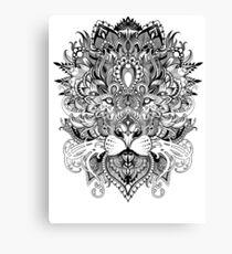 Black and white mandala pattern lion  Canvas Print