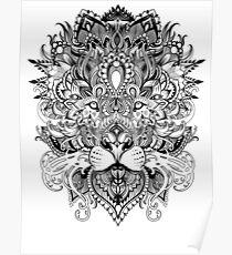 Black and white mandala pattern lion  Poster