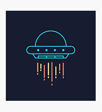 Cool Neon Blue UFO Spaceship  Photographic Print