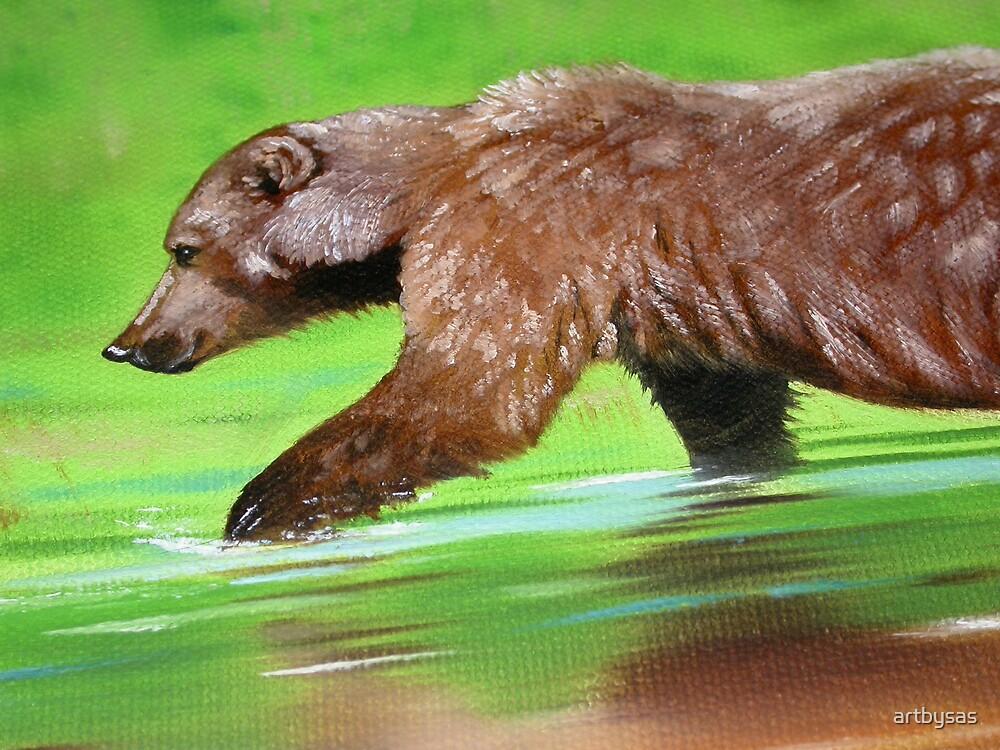 Grizzly Bear in Water by artbysas