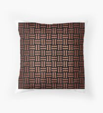 WOVEN1 BLACK MARBLE AND COPPER BRUSHED METAL Throw Pillow