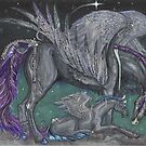 Black Crystal Pegasus Mare and Foal by Stephanie Small