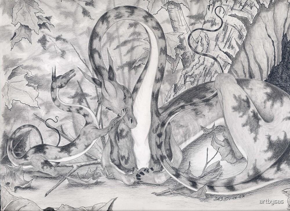 Leaf Dragon and Baby by artbysas