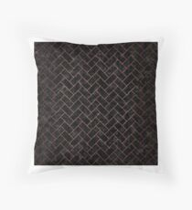 BRICK2 BLACK MARBLE AND COPPER BRUSHED METAL Throw Pillow