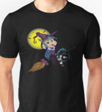 Cat Witch Riding A Broomstick Halloween Design T-Shirt