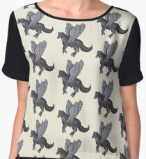 Winged Wolf Black and Red Jewels Women's Chiffon Top