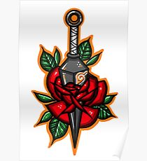 Naruto Konoha Kunai Through Rose Poster