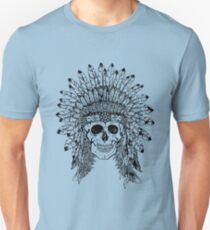 Tribal style gothic skull with feather crown Graphic collection T-Shirt