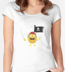 Pineapple Pirate with Flag Ryrdv Women's Fitted Scoop T-Shirt