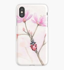 Ladybug on pink blossoms iPhone Case/Skin