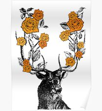 The Stag and Roses Poster
