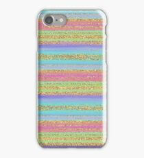 Purple Pink Turquoise Lime Green Gold Glitter Stripes Pattern iPhone Case/Skin