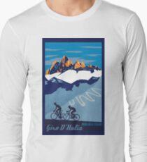 Giro D' Italia Retro  Passo Dello Stelvio Cycling Poster Long Sleeve T-Shirt