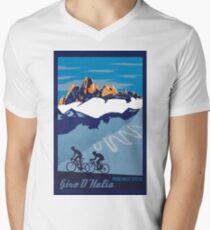 Giro D' Italia Retro  Passo Dello Stelvio Cycling Poster Men's V-Neck T-Shirt