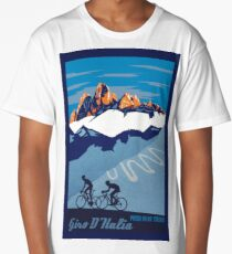 Giro D' Italia Retro  Passo Dello Stelvio Cycling Poster Long T-Shirt