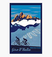 Giro D' Italia Retro  Passo Dello Stelvio Cycling Poster Photographic Print