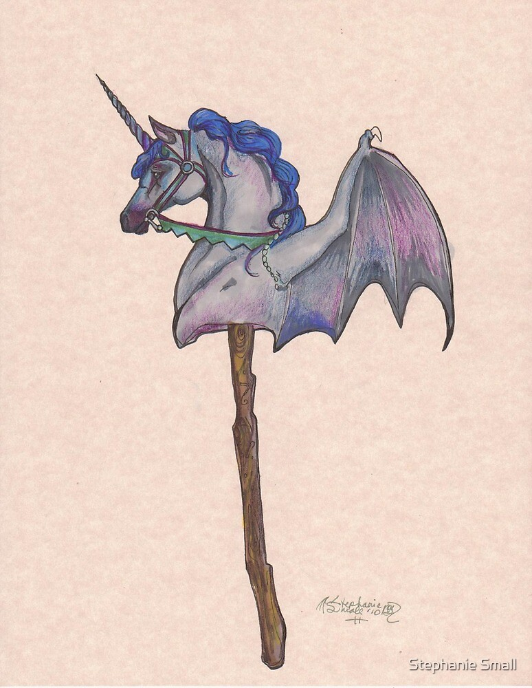 Bat Winged Unicorn Stick Horse Toy by Stephanie Small