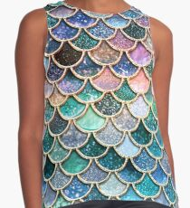 Teal, Silver and Pink Sparkle Faux Glitter Mermaid Scales Contrast Tank
