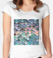 Teal, Silver and Pink Sparkle Faux Glitter Mermaid Scales Women's Fitted Scoop T-Shirt