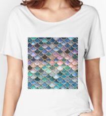 Aquamarine, silberne und rosa Schein-Kunst-Glitter-Meerjungfrau-Skalen Loose Fit T-Shirt