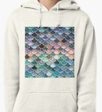 Teal, Silver and Pink Sparkle Faux Glitter Mermaid Scales Pullover Hoodie