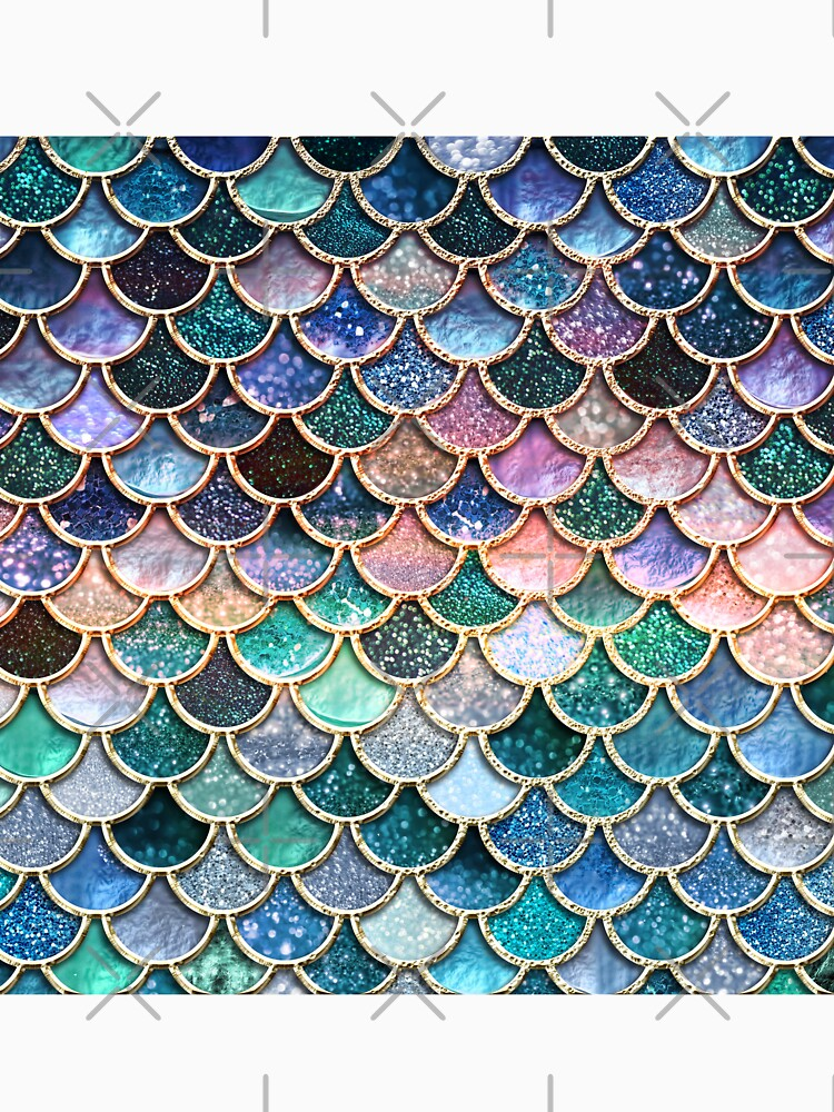 Teal, Silver and Pink Sparkle Faux Glitter Mermaid Scales by UtArt