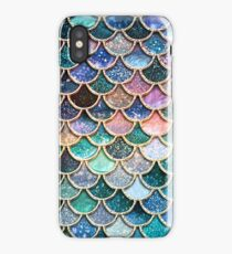 Teal, Silver and Pink Sparkle Faux Glitter Mermaid Scales iPhone Case/Skin