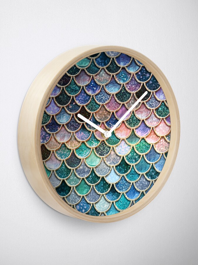 Alternate view of Teal, Silver and Pink Sparkle Faux Glitter Mermaid Scales Clock