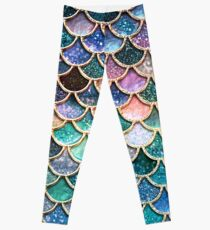 Teal, Silver and Pink Sparkle Faux Glitter Mermaid Scales Leggings