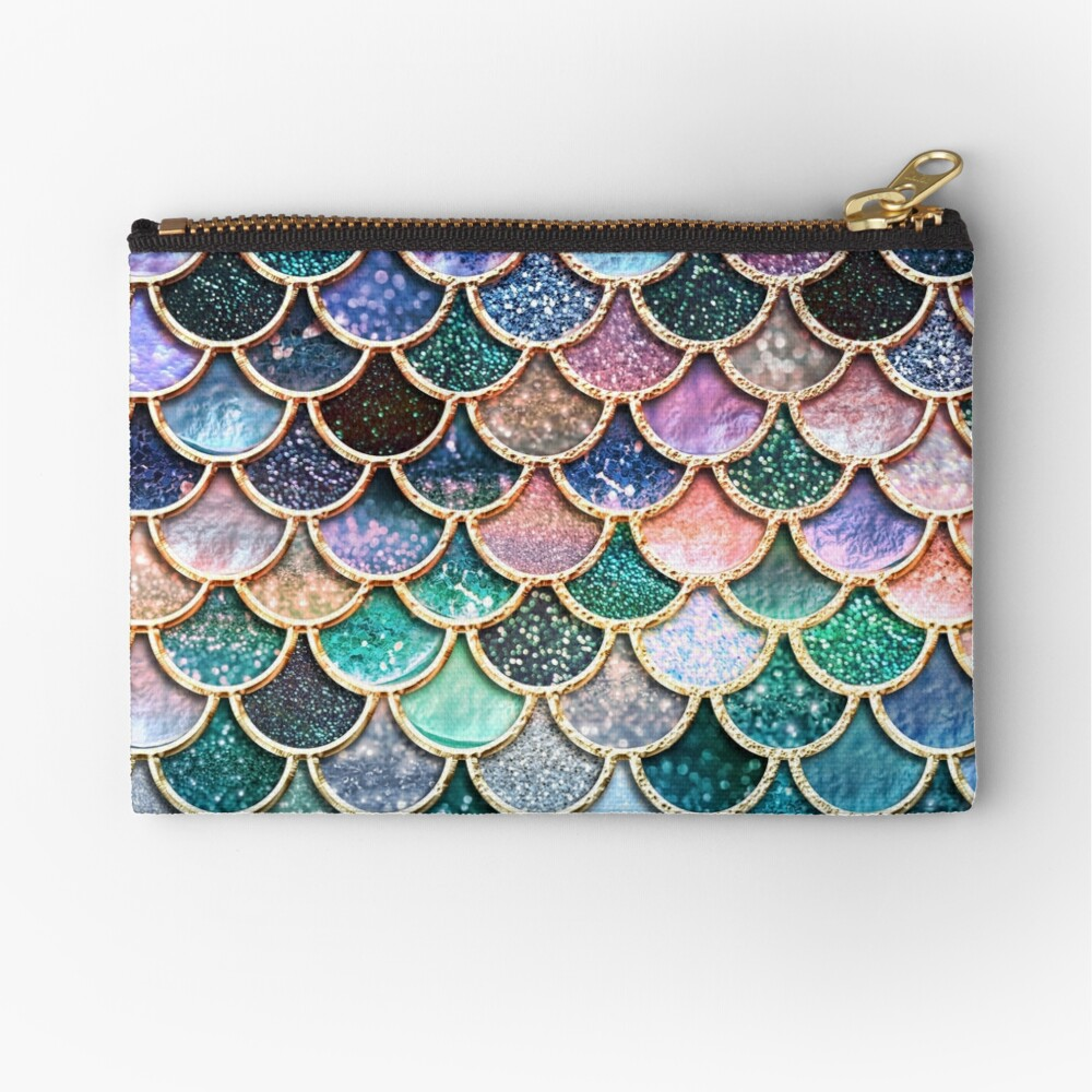 Teal, Silver and Pink Sparkle Faux Glitter Mermaid Scales Zipper Pouch