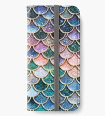 Teal, Silver and Pink Sparkle Faux Glitter Mermaid Scales iPhone Wallet/Case/Skin