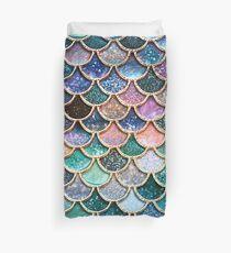 Funda nórdica Escamas de sirena de falsa purpurina con brillo verde azulado y plateado