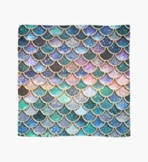 Teal, Silver and Pink Sparkle Faux Glitter Mermaid Scales Scarf