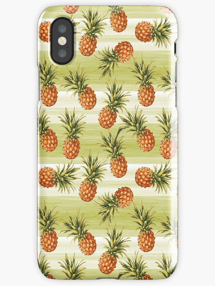 Green Orange Tropical Pineapple Fruit Pattern by FudgePudge